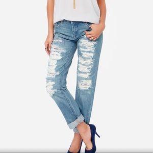 Blank NYC Galaxy Boyfriend Distressed Blue Jeans